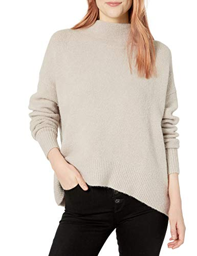 Cable Stitch Women's Mock Neck Cozy Sweater Small Light Grey