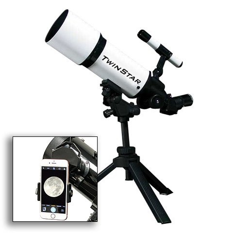 AstroVenture White Portable 80mm Refractor Telescope With Universal Smartphone Camera Adapter TwinStar