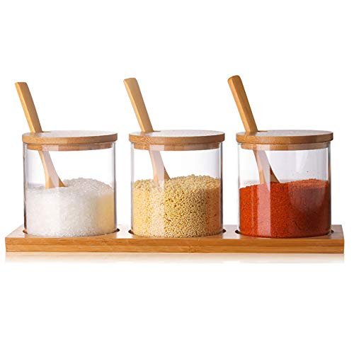 Condiment Container Seasoning Box Set Glass Condiment Canisters Pots with Wooden Spoon Lid and ()