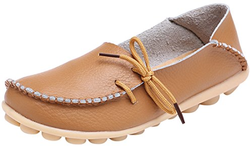 Leather Loafer Heels (Serene Womens Light Brown Leather Cowhide Casual Lace Up Flat Driving Shoes Boat Slip-on Loafers - Size 10)