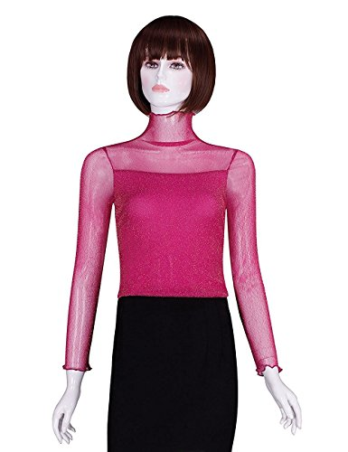 True Meaning Warm and thin Women's FaSexy Thin Cross-Front V-Neck Solid Ruched Blouses Top 940-rose Red-thinX-Sma/ US 2