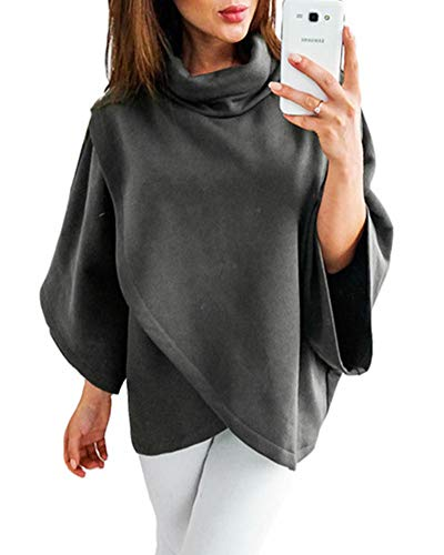 ZJFZML Handkerchief Tops Women Cowl Neck Casual Shirt Loose Fitted Leisure Clothes Pleated Knits Stretch Contemporary 3/4 Long Sleeve Tunic Over Size Daily Clothes Work Dark Gray XL