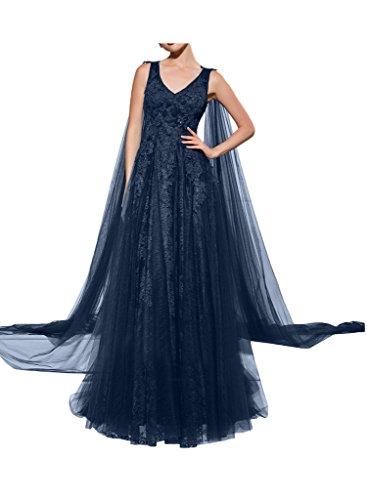 Ausschnitt Lang Ballkleid Spitze Elegant Aermellos Tuell Chiffon Promkleid V Dunkelblau Partykleid Missdressy Festkleid aw1YqFCq