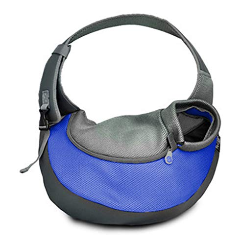 MQ Pet Carrier Sling, Hands Free Dog Tote Bag Cat Shoulder Sling Purse with Adjustable Padded Strap Mesh Outdoor Travel Bag for Carrying Small Dog Cat Puppy (M, Blue)