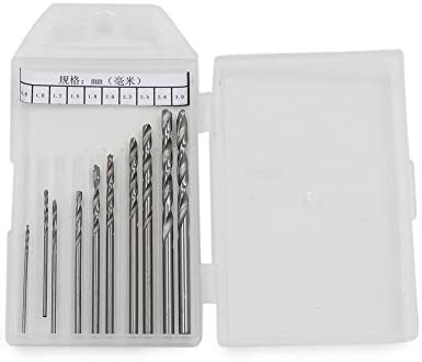 Model Making Jewelry Micro Twist Drill Bits Set with Precision Hand Pin Vise Rotary Tools for Metal Wood Manual Work DIY GTIWUNG 10 Pcs Mini Pin Vise Hand Drill Bits Assembling 0.8-3.0mm