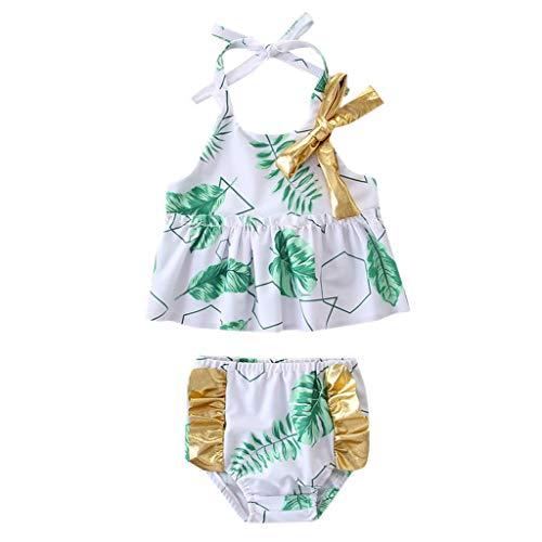 Minipoco Baby Girl Swimsuit Set, Sling Bow Bikini, Sleeveless Sling Beach Set Hair Strap (12M-4Y) ()