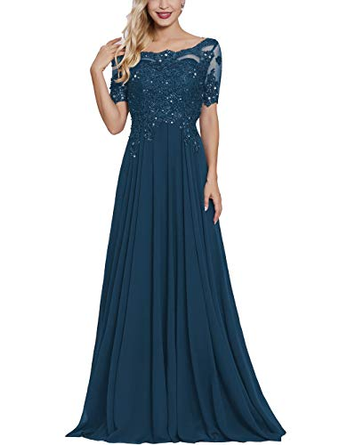 Lace Applique Beaded Mother Bride Dress Long with Sleeves Bateau Neck Maxi Formal Evening Gown Dark Teal