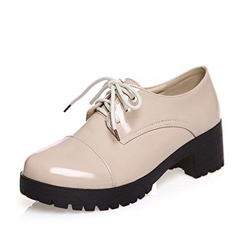 Frauen Starke Ferse Runde Zehe Lace-up Schwarz Lackleder Pumps Schuhe (39, beige)