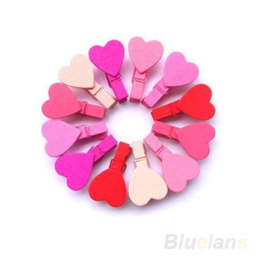 Wind Chimes & Hanging Decorations - 12pc Bag Mini Heart Love Wooden Clothes Photo Paper Peg Pin Clothespin Craft Clips 01tg 3tpc - Messages Stickers Women Book Scrubs Coasters Jan-dec Sweatshi