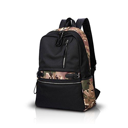 FANDARE Recorrido Alpinista Mochila Morral al Aire Libre Viaje Escuela Bolso Backpack Para Ordenador Portátil 12-15'' Pulgadas Mujeres Hombres Oxford Negro Camo