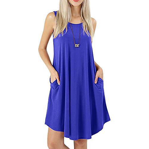 aihihe Sleeveless Dress for Womens with Pockets Summer