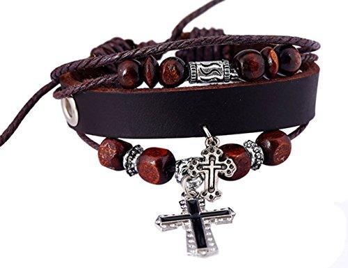 [Konalla Cross Pendant Multilayer Wooded Beaded Leather Unisex Bangle Bracelet] (Male Greek God Costumes)
