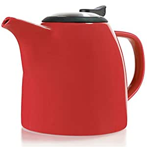 Tealyra - Drago Ceramic Teapot in Red - 37-ounce (4-6 cups) - Large Stylish Teapot - Stainless Steel Lid and Extra-Fine Infuser To Brew Loose Leaf Tea - Dishwasher-safe - BPA and Leed-Free - 1100ml