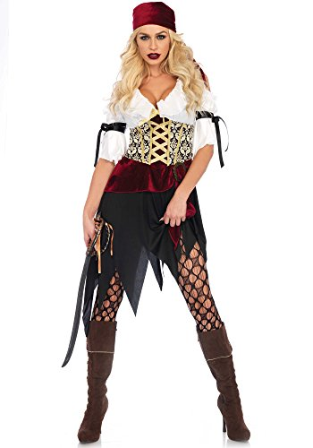 Leg Avenue Women's Sexy Wench Pirate Costume, Multi, Medium -