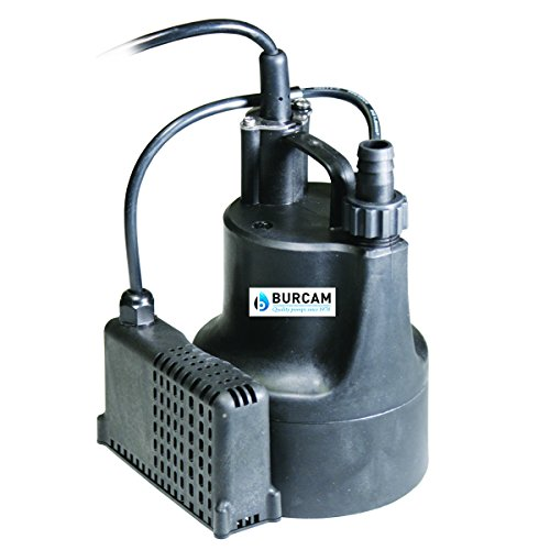 BURCAM 300506S 1/6 HP Automatic Dewatering Utility Pump, Black Automatic Submersible Dewatering Pump