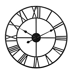 Goshfun Roman Numeral Wall Clock, 24 Inches Wrought Iron Mute Silent Wall Clock, Big No Ticking Hanging Clock Decor for Home Living Rome, Black