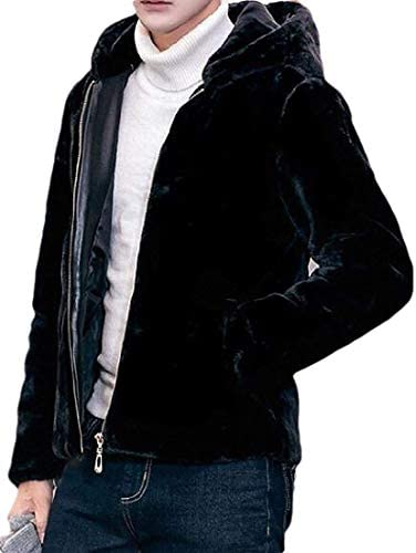 Xudcufyhu Men Loose Fit Fuzzy Winter Quilted-Jacket Warm Faux-Fur Coat Outerwear / Xudcufyhu Men Loose Fit Fuzzy Winter Quilted-Jacket Warm Faux-Fur Coat Outerwear