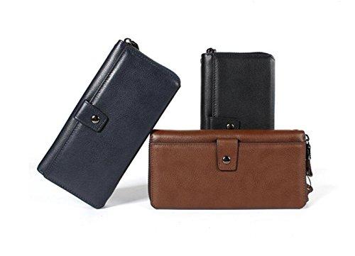 Herren Geldbörse Clutch Bag Ledertasche Business Bag Zipper Bag Geburtstagsgeschenk Blue dpPQs7o
