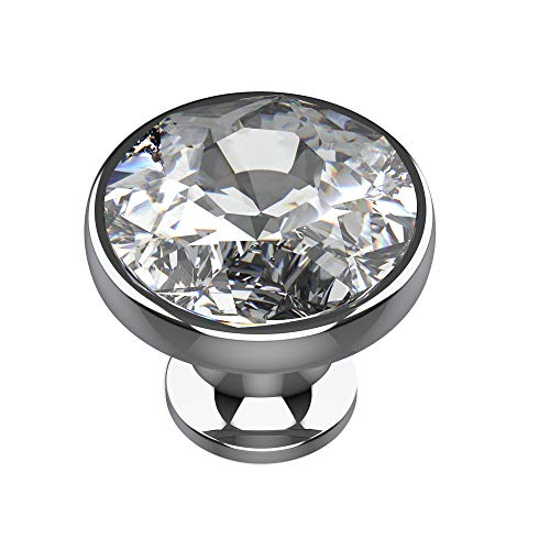 Alzassbg AL1011 Clear Crystal Glass with Nickel Plated Base, 1-3/8 Inch(35mm) Diameter Cabinet Hardware Round Knobs for Cupboard and Drawer 10 Pack