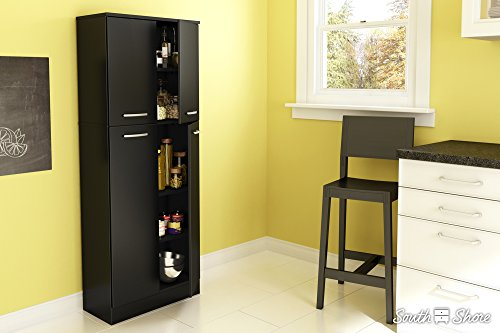 South Shore Axess 4-Shelf Pantry Storage, Pure Black