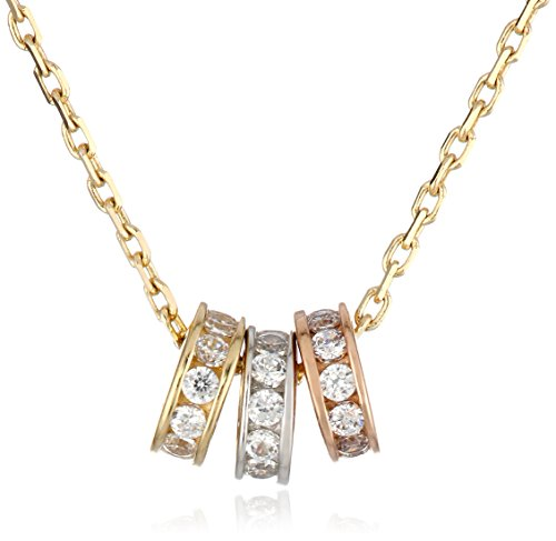 14k Tricolor Gold Three Circle Cubic Zirconia Pendant Necklace, 16