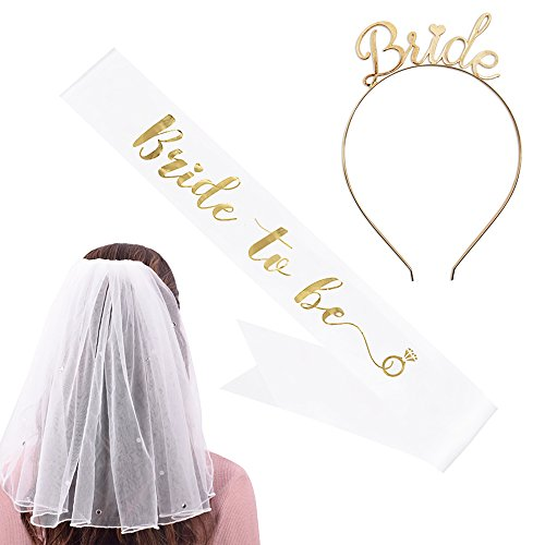 ash & Headband Tiara & Shoulder Length Veil Set–Accessories for Bachelorette Party Bridal Shower Hen Party (Wedding Veil Headband)