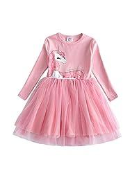 DXTON Girls Children Kid Long Sleeve Cotton Dresses