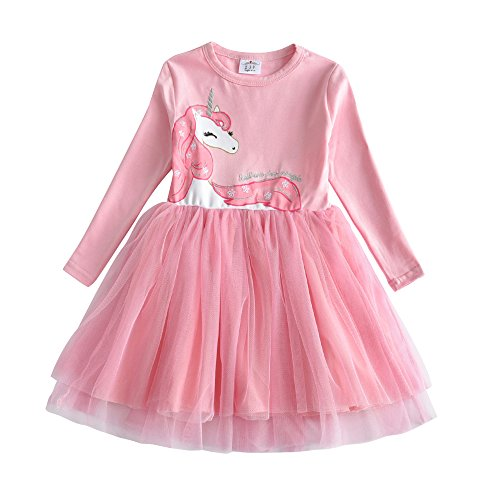 VIKITA Toddler Girl Horse Dress Winter Long Sleeve Tutu Party Dresses for Girls 3-7 Years, Knee-Length (LH4570, 5)
