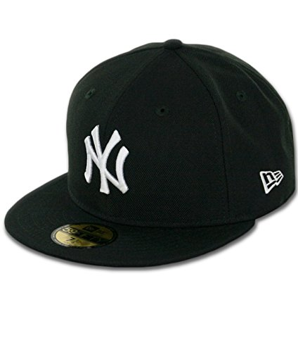 New Era New York Yankees Basic 59Fifty Fitted Cap Hat Black/White 11591127 (Size 7 1/2) ()