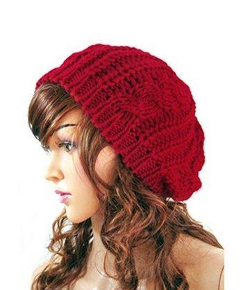 SunHouse New Winter fashion Women Beret Braided Baggy Beanie Crochet Knitted Hat Cap (Red) (Beret Crochet New)