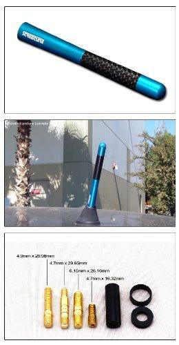 [해외]5 진짜 탄소 섬유 알루미늄 짧은 안테나 폴리 쉬드 블루 유니버설 나사베이스/5  Real Carbon Fiber Aluminum Short Antenna Polished Blue Universal Screws Base