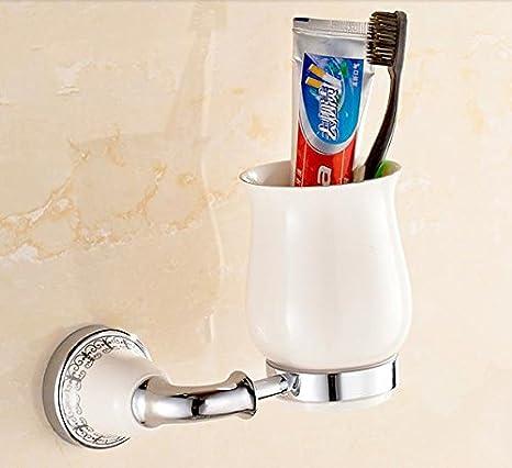 TACCY único vaso para cepillo de dientes Copa de vidrio y latón con acabado cromado # MK01 C: Amazon.es: Hogar