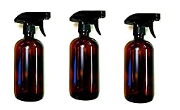 16 oz Amber Bottle with Black Spray Nozzle by Oils For Everything - Large Refillable Glass Container Ideal for SPA Beauty Care Massages Kitchen Cooking Cleaning - 3 Units Pack