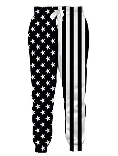 (Teen Boys Girls 3D Print USA Black White Stripe Patriotic Jogger Pants Funny Graphric Cargo Sweatpants with Pockets M)