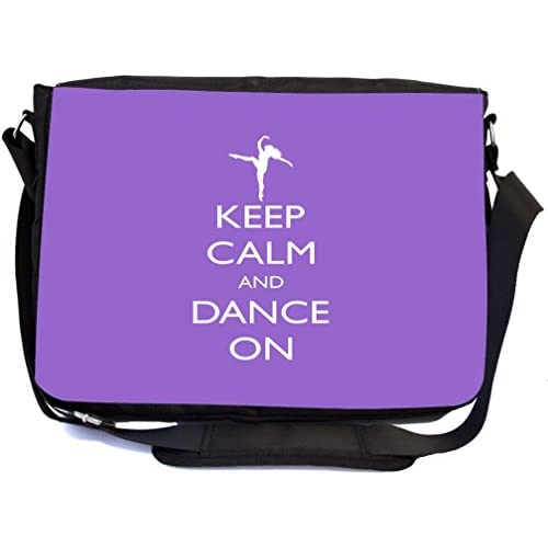 Rikki Knight Keep Calm and Dance On Violet Color Design Multifunctional Messenger Bag - School Bag - Laptop Bag - with padded insert for School or Work - Includes UKBK Premium coin Purse