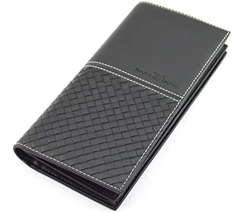 IU COMP Men's Plaid Long Leather Wallet,Black