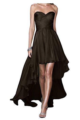 Abendkleider A Partykleider Dunkel Herzausschnitt Chiffon lo Damen Brautjungfernkleider Braut La Marie Braun Linie Hi Rock XxAqwB4wF