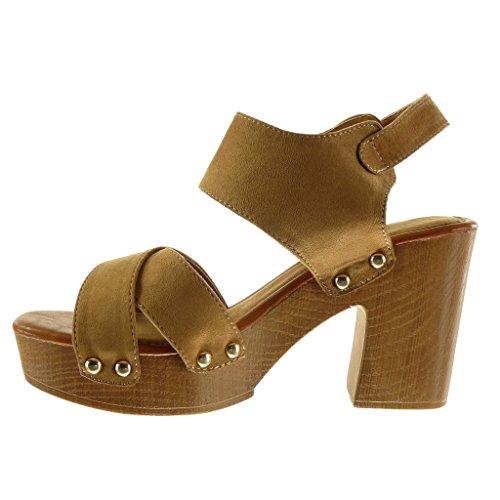Angkorly - Chaussure Mode Sandale Mule plateforme ouverte femme lanière clouté bois Talon haut bloc 9.5 CM - Camel