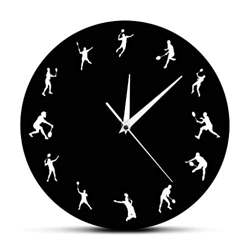 (Zdtxkj Badminton Time 12 Badminton Players Sillouette Wall Clock Birdie Deorative Clock Watch Sports Room Decor Funny Badminton Gifts)