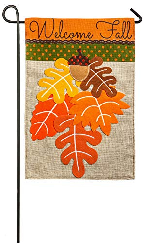 Evergreen Welcome Fall Leaves Double-Sided Burlap Garden Flag - 12.5'W x 18' H