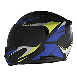 STEELBIRD HELMET SA-1 AVIATE MATT BLACK/BLUE 600mm Helmet Fitted with Clear Visor and Extra SMOKE VSR