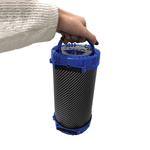 2BOOM BX311 Wireless Bluetooth Portable Indoor or Outdoor Speaker w/FM  Radio, Microphone Input, Aux-in, USB Input, Karaoke Function, Carbon Fiber,