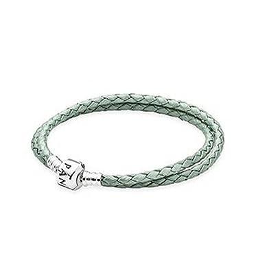 PANDORA , Bracelet en cuir, vert, double tour