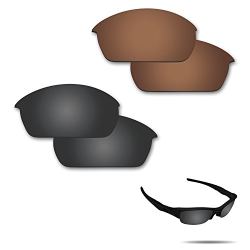 (Fiskr Anti-saltwater Polarized Replacement Lenses for Oakley flak Jacket Sunglasses 2 Pairs Packed (Stealth Black & Bronze Brown))