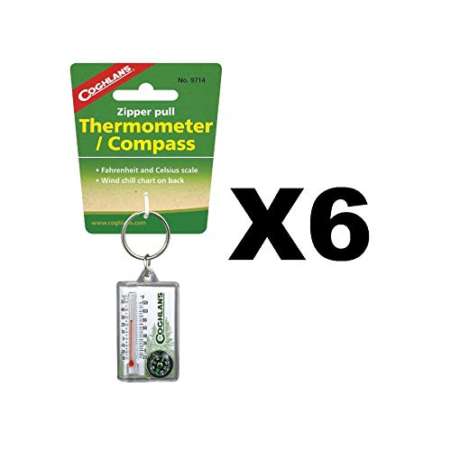 Jacket Compass - Coghlan's Zipper Pull Thermometer Fahrenheit/Celsius Compass, Windchill (6-Pack)