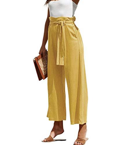 Safeeye Women's Wide Leg Cotton Linen Casual Cropped Capri Pants High Waist Belt Trousers (Yellow, Medium)
