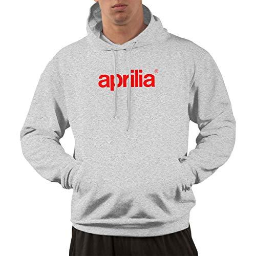 (Lieken Men Hoodie Aprilia Logo Printing Hooded Sweatshirts XL Gray)