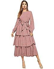 ROMWE Women's Elegant Vintage Polka Dot Lantern Long Sleeve Belt Layered Ruffle Hem Midi Dress