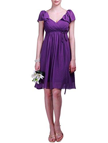 WeiYin Women's Short Sleeve Knee-Length Bridesmaid Mother of the Bride Evening Dresses