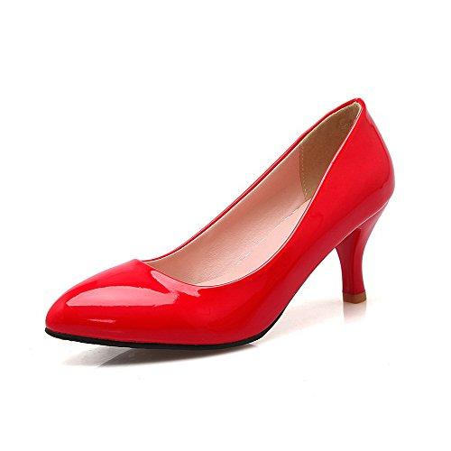 AllhqFashion Damen Spitz Zehe Mittler Absatz Lackleder Rein Ziehen auf Pumps Schuhe Rot